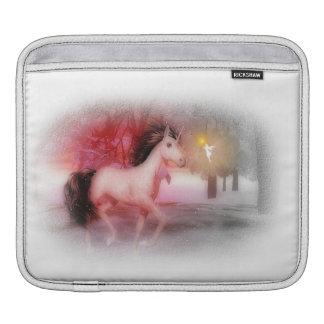 Pink unicorn and fairy winter night iPad sleeve