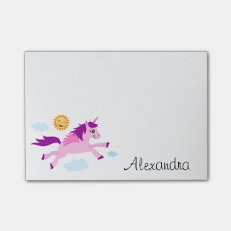 Pink unicorn and happy sun personalized name post-it notes