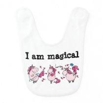 Pink unicorn ballerinas I am magical cartoon art Baby Bib