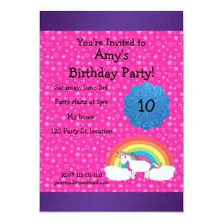"Pink unicorn birthday invitation 5"" x 7"" invitation card"