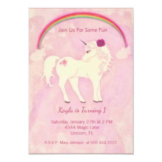 Pink Unicorn Birthday Invitation