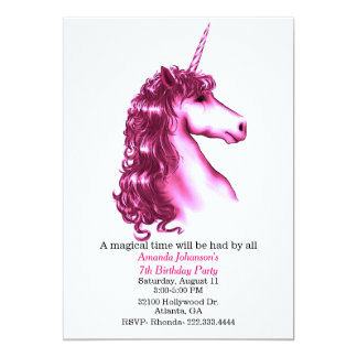 Pink Unicorn Birthday Party Invitation