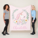 """Pink Unicorn  Blanket with  Watercolor Unicorn<br><div class=""""desc"""">Unicorn blanket with pretty watercolor unicorn and pastel florals on a choose your own color background. You can also add the text of your choice or a name to personalize this pretty unicorn blanket.</div>"""