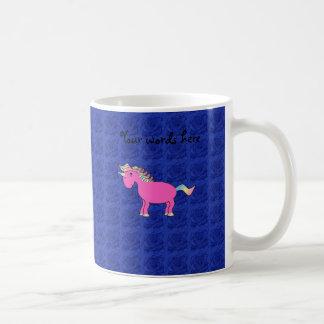 Pink unicorn blue roses classic white coffee mug