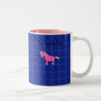 Pink unicorn blue roses Two-Tone coffee mug