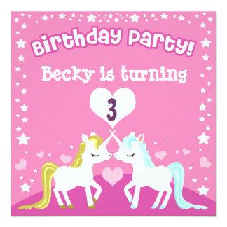 Pink Unicorn Customisable Birthday Invitation