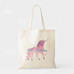 Pink Unicorn Girls Birthday Party Tote Bag