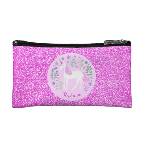 Pink Unicorn Glitter Personalized Cosmetic Bag