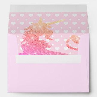 Pink Unicorn Hearts Girly 5X7 Envelope