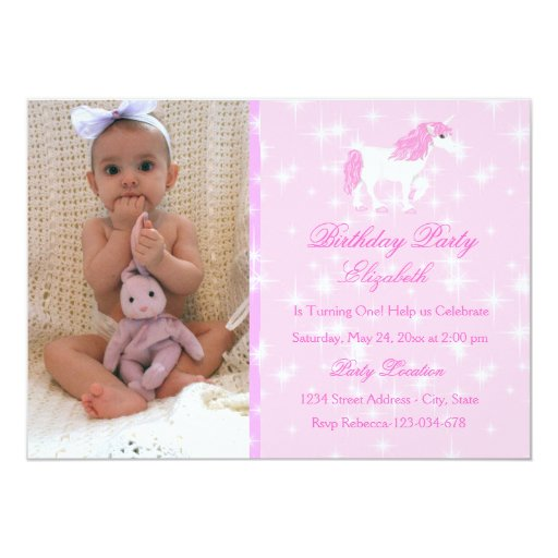 "Pink Unicorn Kids Birthday Invitation 5"" X 7"" Invitation Card"