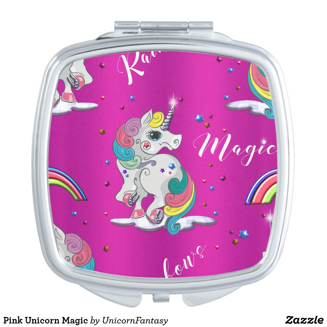 Pink Unicorn Magic Compact Mirror