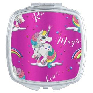 Pink Unicorn Magic Compact Mirror