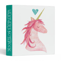 Pink Unicorn Magic with Heart 3 Ring Binder