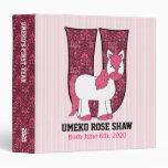 "Pink Unicorn Monogram ""U"" Baby Scrapbook Binders"