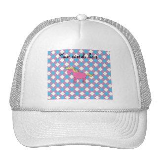 Pink unicorn on argyle background hat