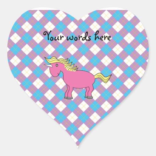 Pink unicorn on argyle background heart stickers