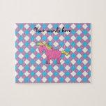 Pink unicorn on argyle background jigsaw puzzles