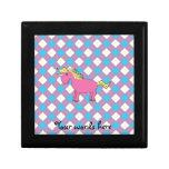 Pink unicorn on argyle background keepsake box
