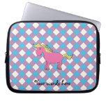 Pink unicorn on argyle background laptop computer sleeve