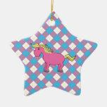 Pink unicorn on argyle background ornament