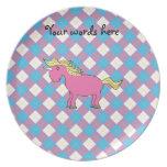 Pink unicorn on argyle background party plates