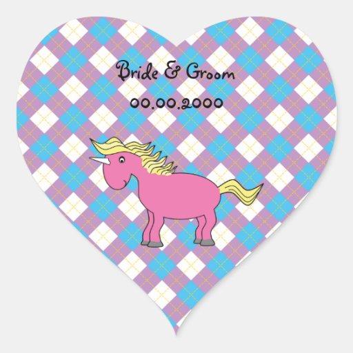 Pink unicorn on argyle background stickers