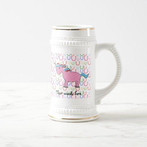 Pink unicorn on horseshoes coffee mugs