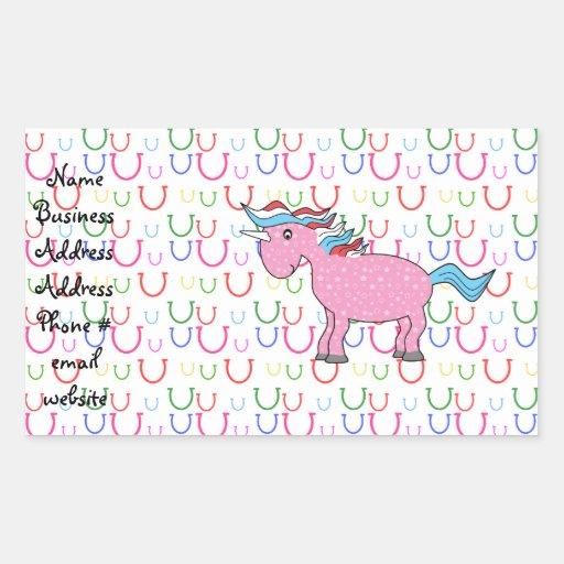 Pink unicorn on horseshoes rectangle sticker