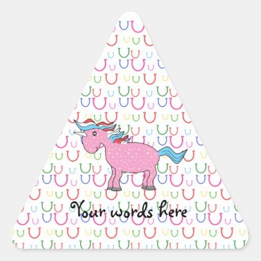 Pink unicorn on horseshoes triangle sticker