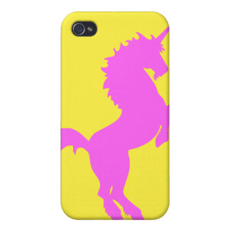 Pink unicorn on yellow background iphone4 case iPhone 4/4S covers
