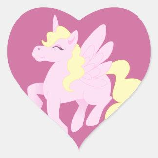 Pink Unicorn Pegasus Heart Sticker