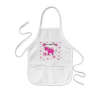 Pink unicorn pink snowflakes apron