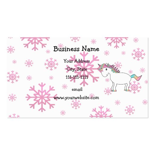 Pink unicorn pink snowflakes Double-Sided standard business cards (Pack of 100)