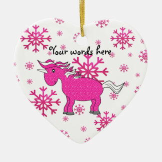 Pink unicorn pink snowflakes ceramic ornament