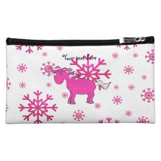 Pink unicorn pink snowflakes cosmetics bags