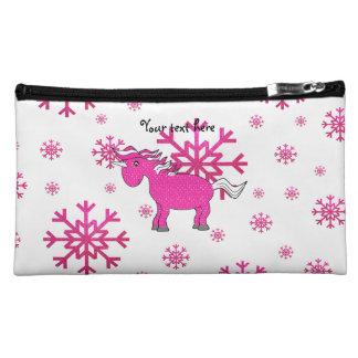 Pink unicorn pink snowflakes makeup bags