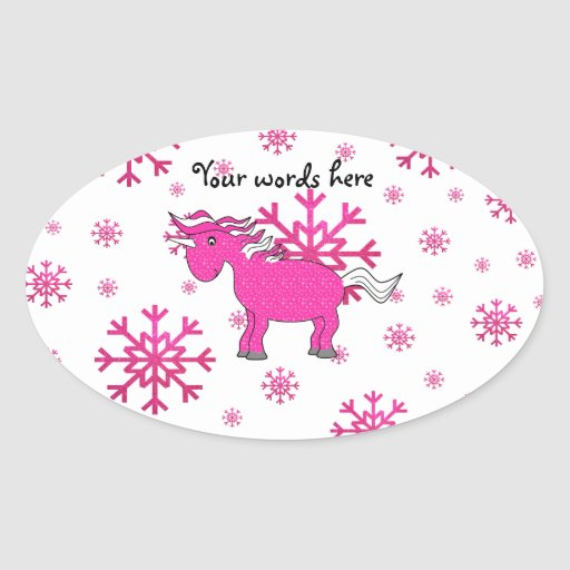 Pink unicorn pink snowflakes oval sticker