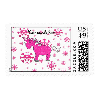 Pink unicorn pink snowflakes stamps