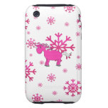 Pink unicorn pink snowflakes tough iPhone 3 cover