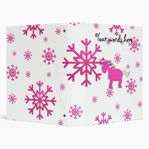 Pink unicorn pink snowflakes vinyl binders