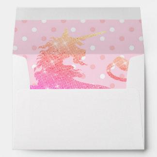 Pink Unicorn Polka Dots Girly 5X7 Envelope