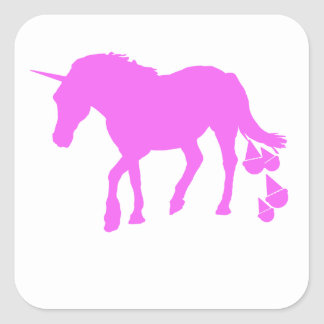 Pink Unicorn Pooping Ice Cream Square Stickers