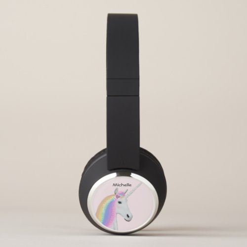 Pink Unicorn Rainbow Custom Bluetooth Headphones