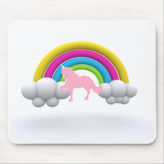 Pink Unicorn & Rainbow In The Clouds Graphics Mouse Pad