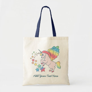 Pink Unicorn Rainbow Star Budget Tote Bag