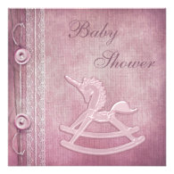 Pink Unicorn Rocking Horse & Lace Baby Shower Custom Invitations