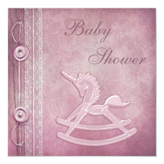 Pink Unicorn Rocking Horse & Lace Baby Shower 5.25x5.25 Square Paper Invitation Card
