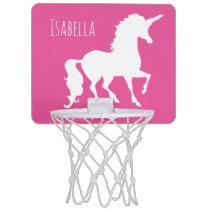 Pink Unicorn Silhouette Girly Kids Personalized Mini Basketball Backboard