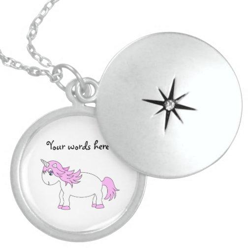 Pink unicorn silver locket