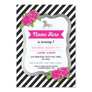 Pink Unicorn Stripe Birthday Silver Party Invite
